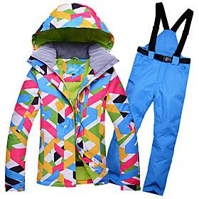 Arctic QUEEN Women's Ski Jacket with Pants Ski / Snowboard Winter Sports Thermal / Warm Waterproof Windproof Polyester Clothing Suit Ski Wear / Long Sleeve