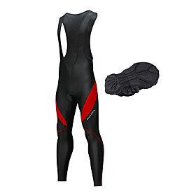 WOSAWE Men's Cycling Bib Tights Bike Bib Tights Pants Thermal / Warm Fleece Lining Reflective Strips Sports Spandex Winter Black / White / Black / Red Mountain