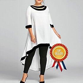 Women's Swing Dress Midi Dress 3/4 Length Sleeve Solid Color Clothing Spring  Summer Plus Size Casual 2021 White Black Blue Wine Navy Blue S M L XL XXL 3XL 4XL