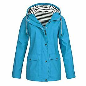 Women's Spring V Neck Coat Regular Square Sports Outdoor Classic  Timeless Water Blue Tiffany Blue White Black S M L XL / Fall / Winter