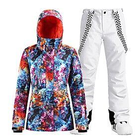 Women's Ski Jacket with Pants Skiing Snowboarding Winter Sports Waterproof Windproof Warm 100% Polyester Clothing Suit Ski Wear