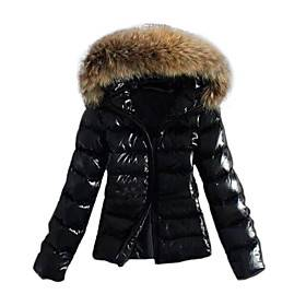 Women's Fall Winter Down Parka Sports  Outdoor Basic Fur Trim Solid Colored Nylon Long Sleeve Hooded Black S / M / L
