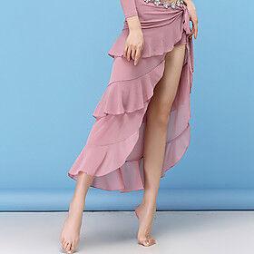 Latin Dance Skirts Split Cascading Ruffles Ruching Women's Training Performance High Nylon