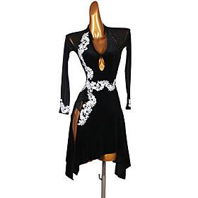 Latin Dance Dress Appliques Crystals / Rhinestones Women's Performance Long Sleeve Spandex Social Dancing Dress Waltz Tango Costumes Outfits Male Dancewear Bla