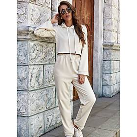 Women's 2 Piece Set High Waist Crew Neck Solid Color Sport Athleisure Sweatshirt and Pants Clothing Suit Long Sleeve Comfortable Running Everyday Use Outdoor /