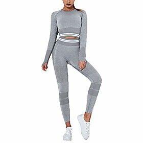 Women's Sportswear Set 2 Piece Tracksuit, Women's Yoga Clothes 2 Piece Tracksuit Outfits Seamless High Waist Butt Lift Leggings Long Sleeve Yoga Shirts Thumb H
