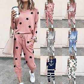 Women's Sweatsuit 2 Piece Set Tie Dye Drawstring Loose Fit Crew Neck Tie Dye Cute Sport Athleisure Clothing Suit Long Sleeve Warm Soft Comfortable Everyday Use
