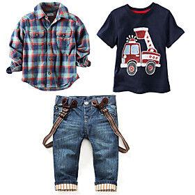 Kids Boys' Clothing Set Daily Holiday Print Plaid Print Short Sleeve Long Sleeve Basic Vintage Regular Blue