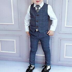 Kids Boys' Clothing Set Plaid Long Sleeve Streetwear Regular Blue Wine Dark Gray