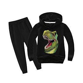 Kids Boys' Sports  Outdoors Basic Holiday Daily Wear Vacation Dinosaur Print Print Long Sleeve Regular Regular Clothing Set Black