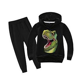 Kids Boys' Clothing Set Daily Wear Vacation Dinosaur Print Print Long Sleeve Basic Holiday Regular Regular Black