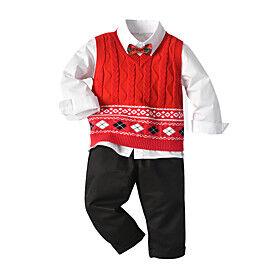 Toddler Boys' Clothing Set Christmas Color Block Long Sleeve Basic Regular Regular Red