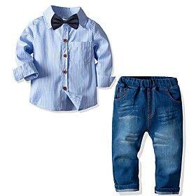 Toddler Boys' Clothing Set Street Casual / Daily Striped Long Sleeve Basic Regular Regular Blue