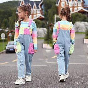 Kids Girls' Clothing Set Color Block Long Sleeve Active Streetwear Rainbow