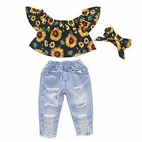toddler girls summer outfit short sleeve flower ruffle top ripped jeans pant set casual photography coming home clothes 3t age 2-3 years