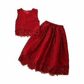 Princess kids little girls princess skirt sets lace floral sleeveless vest toplong maxi skirts party dress clothes (red,3-4t)
