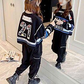 Kids Girls' Clothing Set Outdoor Black White Print Geometric Print Long Sleeve Streetwear Short Short White Black