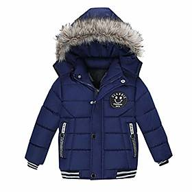 hooded thick coat children winter jacket coat boy jacket warm hooded kids clothes (navy,100/2years)