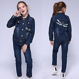 Kids Girls' Clothing Set Graphic Long Sleeve Basic Streetwear Blue