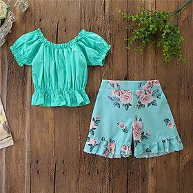 Toddler Girls' Clothing Set Floral Print Short Sleeve Basic Regular Regular Green