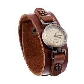 Women's Fashion Vintage Leather Bracelet Watch (Accessories Random)