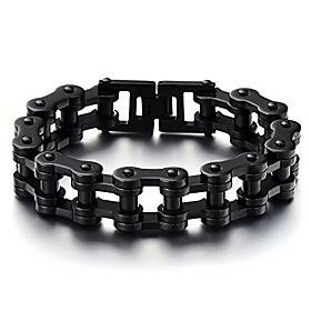 men black heavy sturdy bike chain motorcycle chain bracelet of stainless steel, high polished