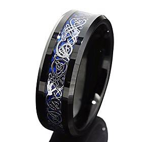 8mm Black Tungsten Carbide Ring Silvering Celtic Dragon Blue Carbon Fibre Wedding Band Mens Jewellery