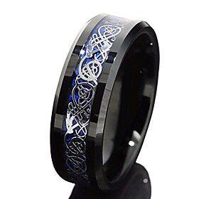 8mm Black Tungsten Carbide Ring Silvering Celtic Dragon Blue Carbon Fibre Wedding Band Mens Jewellery