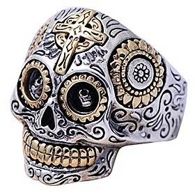 Gothic Silver Biker Sugar Skull Ring Jewellery for Men Boys Size V 1/2