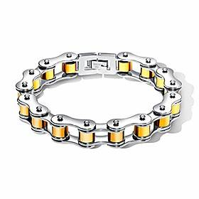 Masculine Bike Chain Bracelet for Men, Stainless Steel Mens Heavy Harley Motorcycle Bicycle Link Chain Wristband Cuff Bracelet