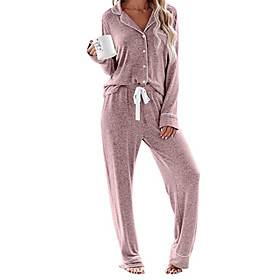 Women's Home Cotton Normal Pant V Neck Loungewear Full Body Print Spring, Fall, Winter, Summer Printing S White