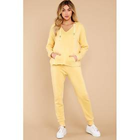 Women's Home Polyester Normal Pant Deep V Suits Long Sleeve Hooded Spring  Summer Solid Colored S Yellow