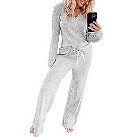 women long sleeve pajamas suits, 2pcs womenlong sleeve leisure home sweatpants sets, for summer amp; autumn cotton modal shirt and pants loungewear gray