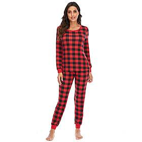 Women's Home Polyester Normal Casual Jewel Neck Loungewear Full Body Knitted Winter Checkered / Gingham S Blue
