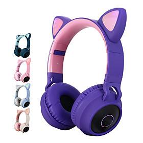 LITBest Color LED Cat Ear Headphones Bluetooth 5.0 Headset Support TF Card 3.5mm Audio Input FM Function with Mic MP3 Music Player Over Ear Foldable Party Stre
