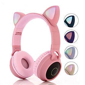 BT 028C Over-ear Cat Headphone Wireless Hifi Music Stereo Bass Bluetooth 5.0 Headset LED Light Mobile Phones Girl Daughter For PC