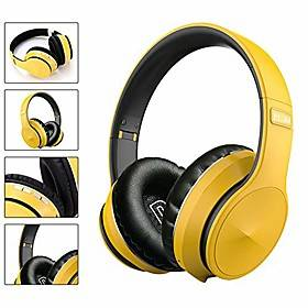wireless over ear headphones, bluetooth 5.0 foldable stereo bass headphones, built-in microphone, support tf card, fm, for home office outdoor mobile pc tv