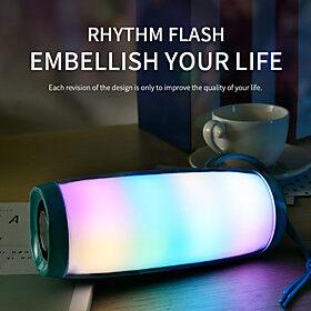 LED Flashing Light Bluetooth Speaker Portable With Rope Outdoor Loundspeaker 1200 mAh Fabric Waterproof Subwoofer FM Radio