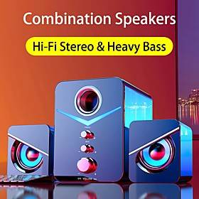 221 USB Wired Bluetooth Combination Speakers Computer Speakers Bass Stereo Music Player Subwoofer Sound Box For PC Phones