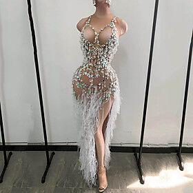 Dance Costumes Dress Tassel Paillette Women's Performance Sleeveless Spandex