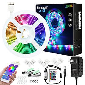7.5M Music Sync Colour Changing RGB LED Strip Lights 24-Key Remote Sensitive Built-in Mic Bluetooth App Controlled LED Lights 5050 RGB LED Light Strip Kit DC12