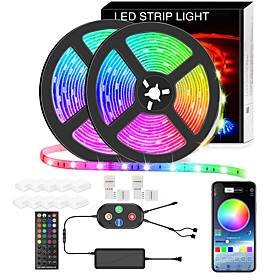 5050 Led Strip Lights 10M Smart RGB Led Light Strip Music Sync 600LEDs Color Changing Light Strips Bluetooth APP Control with Remote for Bedroom Room TV Party