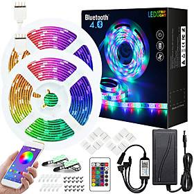 50ft  2x7.5M Music Sync Colour Changing RGB LED Strip Lights Starry Sky Projector Light Dream Cloud Pendant Light Combination Built-in Bluetooth App Controlled