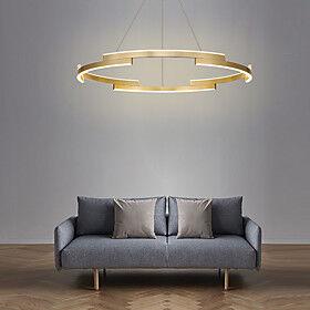 80cm LED Circle Pendant Light Gold Luxury Chandelier Aluminum Anodized Island Living Room Dining Room