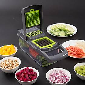 Food Chopper Vegetable-Fruit-Cheese-Onion Chopper Slicer Dicer Tomato Grater 12 in 1 Veggie Chopper Spiralizer Salad Potato Slicer with Container Multi-functio
