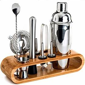 Insulated Cocktail Shaker Mixer Bartender Kit 10pcs Cocktail Shaker Mixer Stainless Steel 550ml Bar Tool Set with Stylish Bamboo Stand Perfect Home Bartending