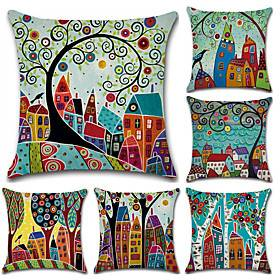 Set of 6 Botanical Bohemian Style Retro Cotton Linen Decorative Square Throw Pillow Covers Set Cushion Case for Sofa Bedroom Car