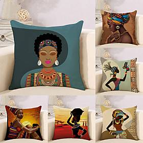 Set of 6 Cotton / Linen Pillow Case, Novelty Classic Oil Painting Antique Artistic Style Throw Pillow