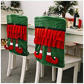 Christmas Chair Covers Set of 2, Santa Chair Back Suit Slipcovers for Home Kitchen Dining Room Holiday Party Décor