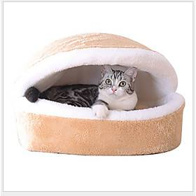 Dog Cat Bed Beds Oxford Cloth Cotton Pet Baskets Circle Solid Colored Warm Soft Tent Khaki